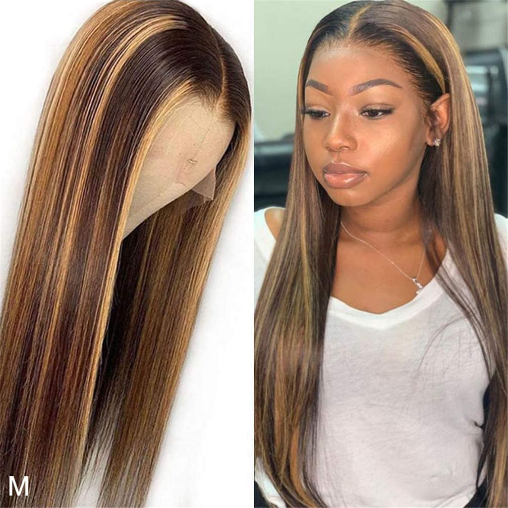 Brown Ombre Bone Straight Lace Front Wig  Virgin Hair  T Part Hd Highlight Lace Frontal  Wigs 1