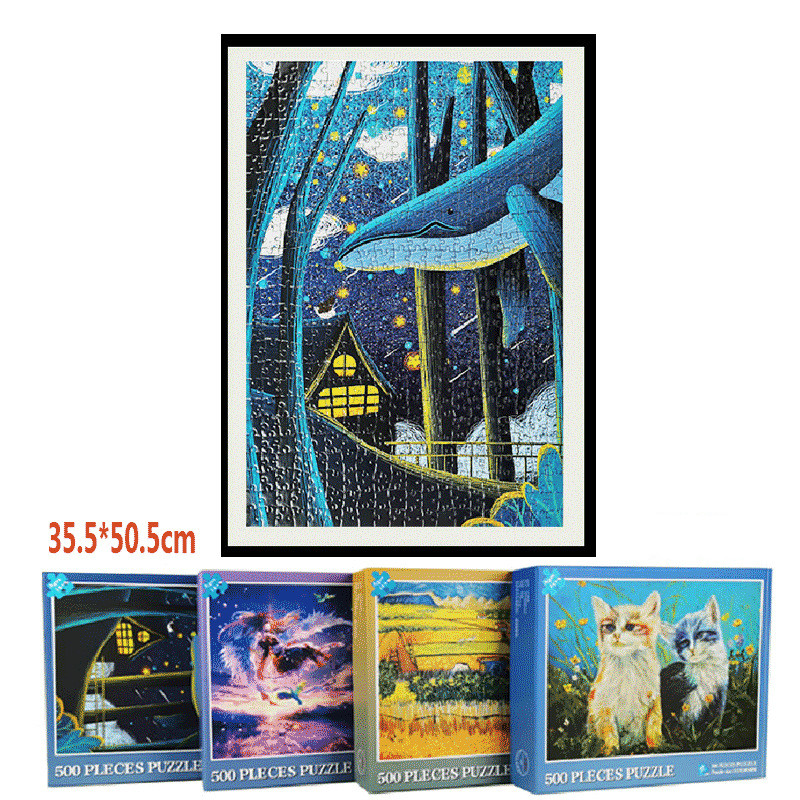 500 Pieces Adult Puzzle Kids Jigsaw Landscape Wooden Puzzles Educational Toys For Children Animation Pairing Puzzles Gift