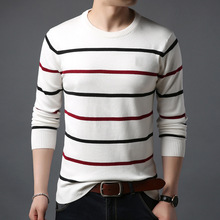 LUX ANGNER Mens Fashion Brand Sweater Pullover Men Striped Slim Fit Long Sleeve Sweater Men Autumn Korean Style Casual Clothing