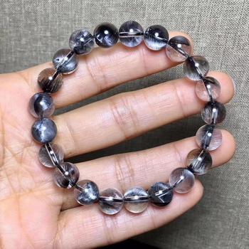 Pulsera de Cuarzo rutilado de plata de platino Natural genuina de Brookite, piedras preciosas de 9,5mm, cuentas redondas transparentes para mujer y hombre, certificado AAAAA