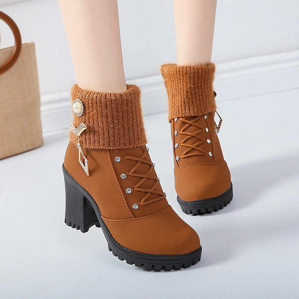 Roma kristal botlar botlar botlar rahat kare yüksek topuk ayak bileği düz dantel-up Martin kısa çizmeler ayakkabı chaussures femme