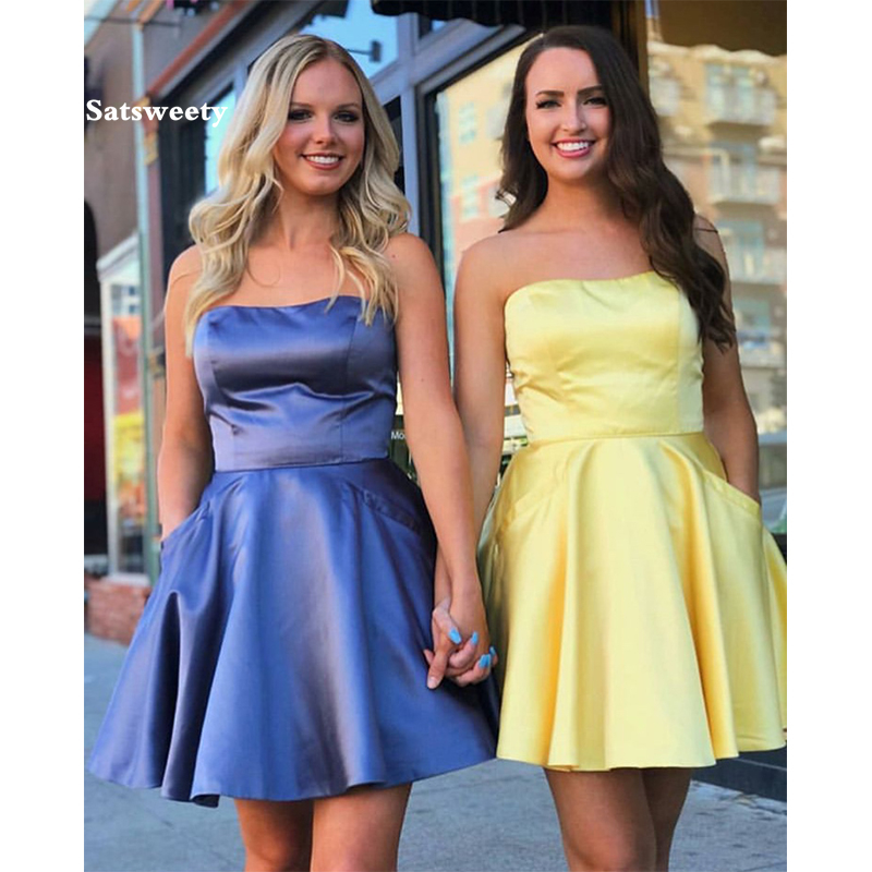2019-Mini-Short-Graduation-Homecoming-Dresses-With-Pocket-Strapless-A-line-Yellow-Satin-Homecoming-Cocktail-Party