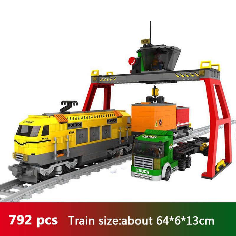 Ausini ville Train Wagon fret chariot passager gare ferroviaire voies ferrées Locomotive Compatible Legoing blocs de construction jouets