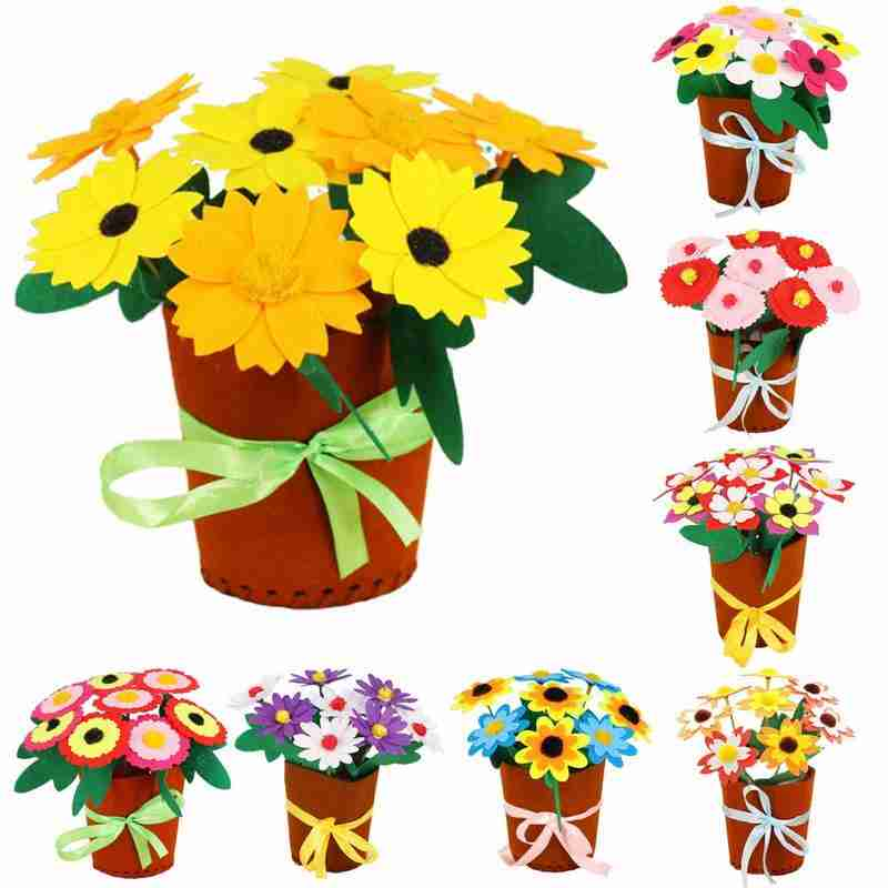 Handmade DIY Potted Bouquet Material Package Crafts Kids Simulation Sewing Potted Kindergarten Children's Toys Mother's Day Gift