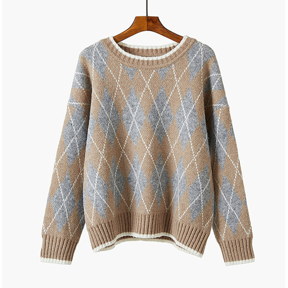 Christmas Sweater Women Jumper Autumn Winter Loose 2019 Lazy Korean Style Xma Pullovers Knitted Sweaters Warmness Geometric Tops