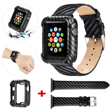 Leather Strap Case For Apple Watch 5 band 44mm 40mm TPU Thin Carbon Fiber Case Protective Frame For iwatch Series 5/4 44mm 40mm rock vision series case for iphone 7 4 7 carbon fiber texture tpu pc mobile shell gold