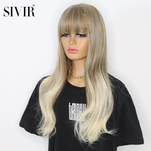 Sivir Synthetic Wigs with Bangs Light Gold Long Wig long wavy  for  Women  Cosplay/party/daily  Heat Resistant wigs