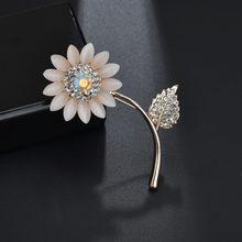 Kingdeng broches wome moda liga girassol broche meninas acessórios lapela pino strass bonito esmalte pinos jóias amigos
