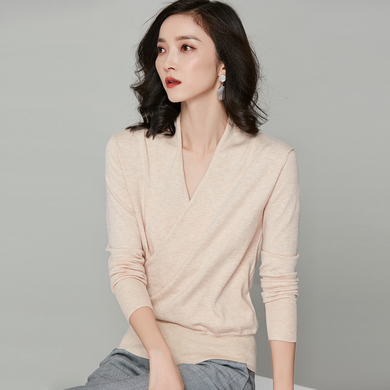 Knitted Wrap Over Tops Women Wool Blended Cardigan Sweater Long Sleeve Wrap Around Sweater Elegant
