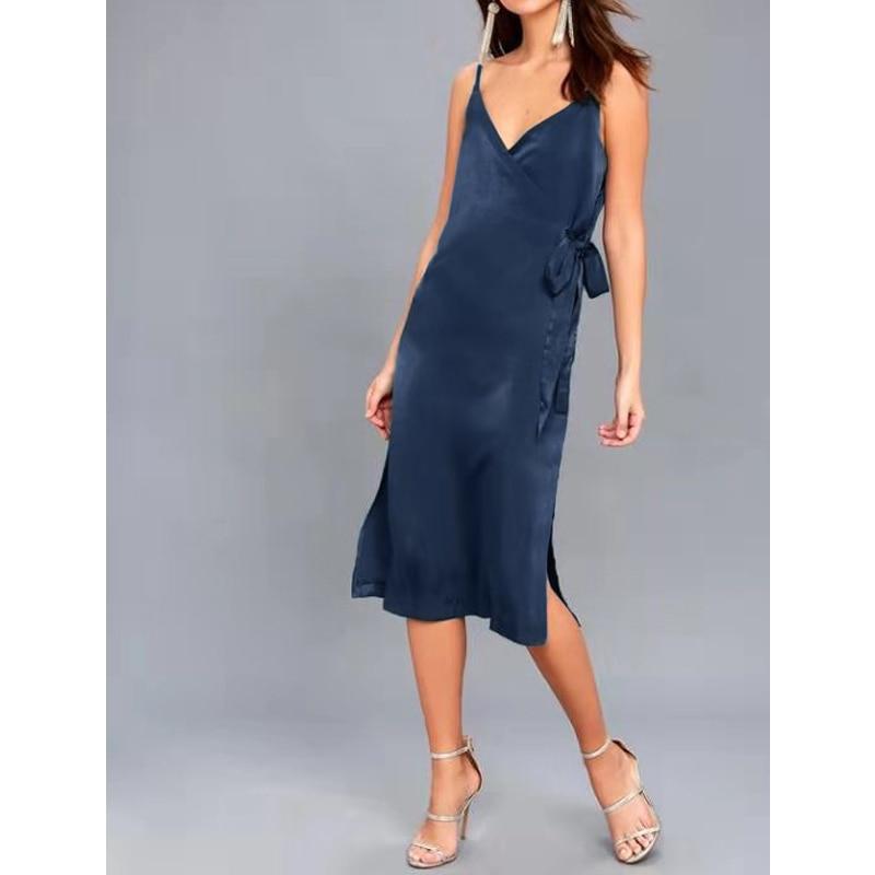 Women satin dress v neck tie waist natural elegant evening ladies dress M30484(China)