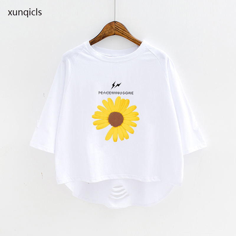 New Summer Girl T-shirt Kids Daisy Printed T-shirts Baby Half Sleeve Tops Clothes Children Cotton Girls Clothing