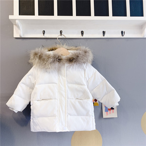 Image 5 - 2019 dzieci jesień i zima nowe dzieci biały puch kaczy dół kurtki dla dziewczynek średnim i długim prawdziwa wełna kołnierz płaszcz