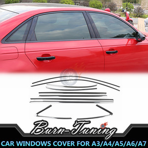 Titanium Black Window Trim For A3 8V A4 B8 B8.5 B9 A5 A6 A7 Stainless Steel Scratch-proof Pillar Posts Cover Car Protection