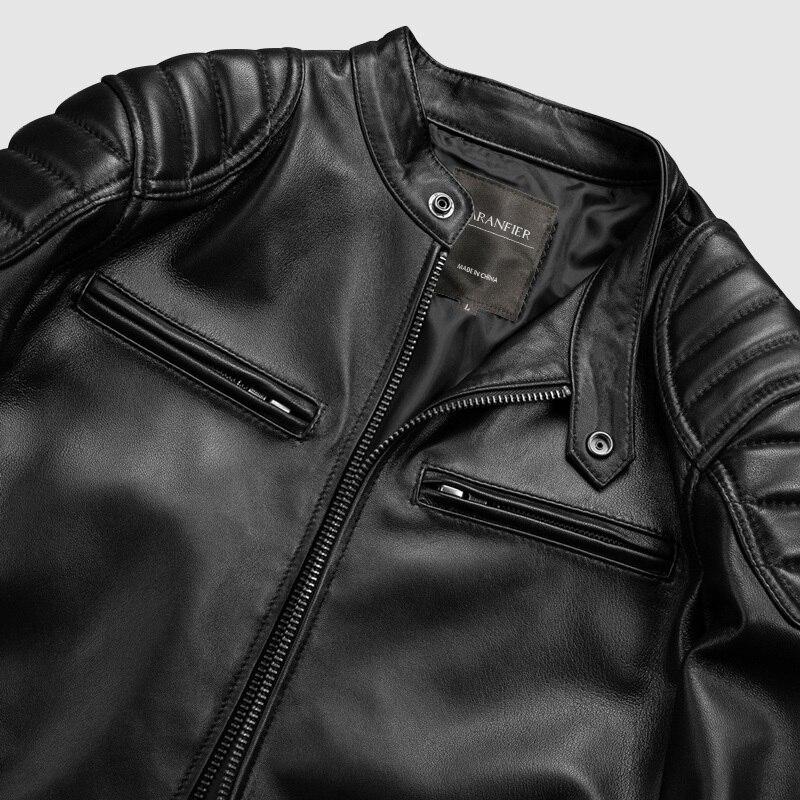 CARANFEIR darmowa ShippingMotor styl marki w stylu Vintage męskie jakości oryginalne skórzane kurtki 100% naturalne kurtka z owczej skóry płaszcz
