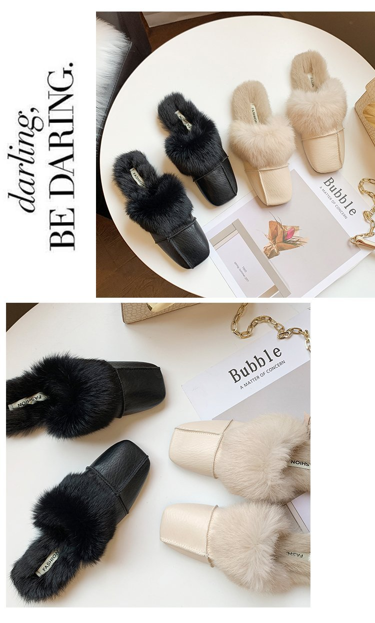 square close toe fur mules shoes flats casual rabbit hair slingback lazy slippers handmade sewing pleated leather slides female 49
