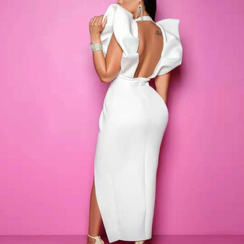 White Dresses Party Sexy Deep V Neck High Waist Slit Bodycon Ruffles Backless Event Occassion Women Celebrate Evening Night Robe 2