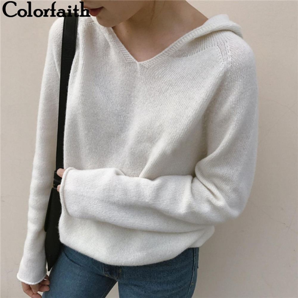 Pullovers Sweaters Minimalist-Style Colorfaith Winter Women Solid-Tops Autumn Hooded