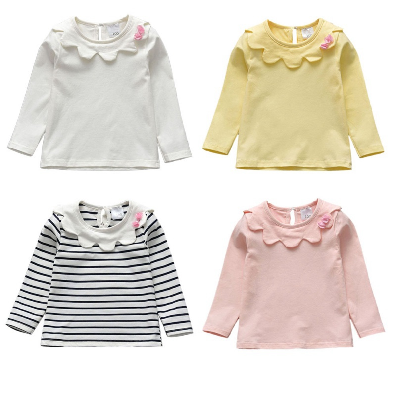 Baby Girl Toddler Kids Long Sleeve Tops Tee Clothes Solid Color Blouse T-shirt