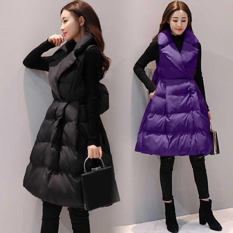 Boollili 2020 Otoño Invierno Chaleco Mujer abajo algodón cintura abrigo Parka chaqueta sin mangas Colete Feminino Chaleco de Mujer