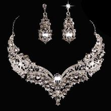 2Pcs/set Women Crystal Necklace Earrings Sets Prom Wedding Party Bridal Jewelry Shimmer