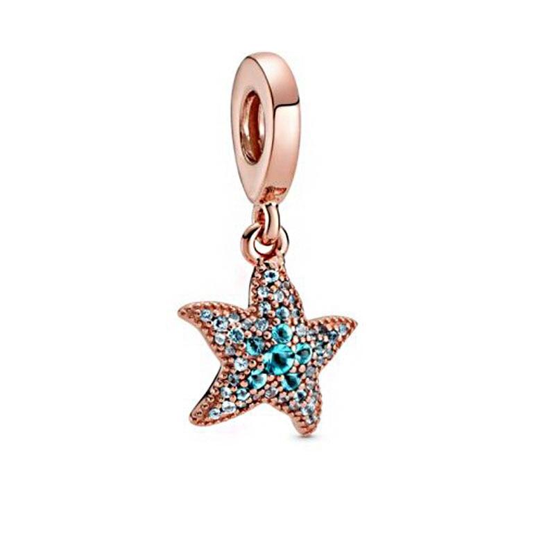 2020 New Summer 925 Sterling Silver Sparkling Starfish Dangle Charms Beads Fit Original Pandora Bracelets Women DIY Jewelry