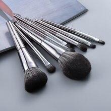 Набор серебристых металлических кистей для макияжа fld 8 шт