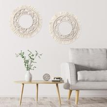 Round Tapestry Macrame Wall Hanging Hand Woven For Home Decoration External diameter (with tassel) 34cm