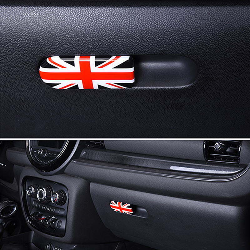 Car Glove box handle decoration Storage box cover sticker Car styling  Accessories For MINI Clubman COOPER S F54 F60 Countryman