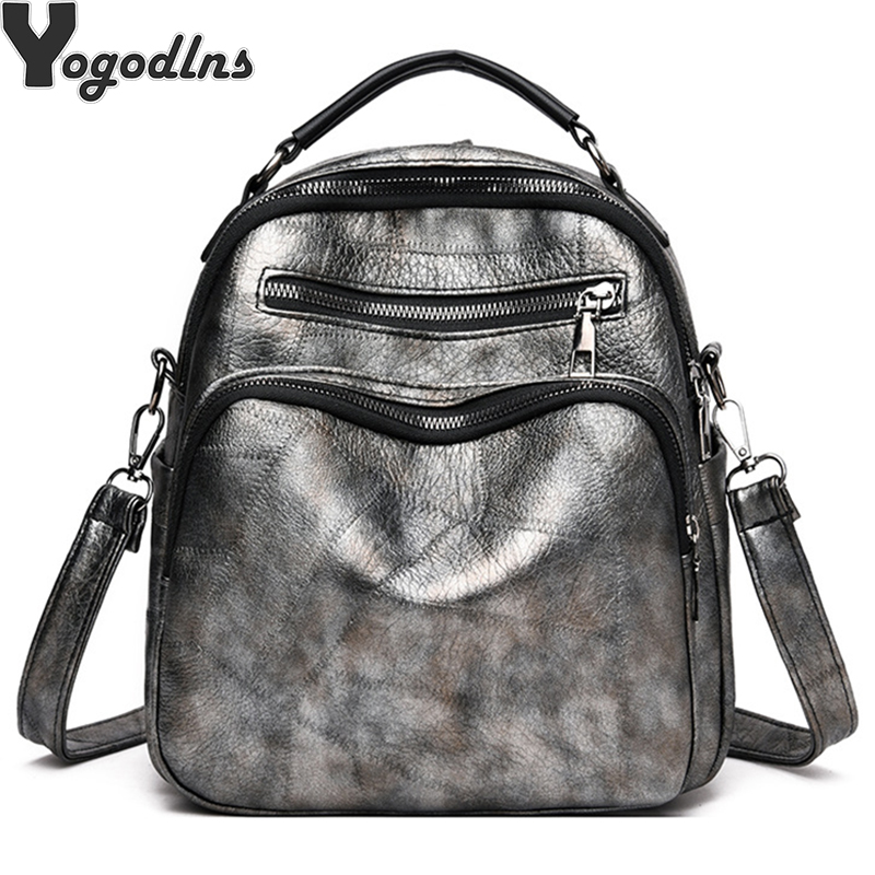 Women Leather PU Bag Backpack Famous Brands Double Strap Fashion Dual-use Package Bags For Young Girls School Backpacks Mochila