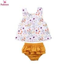 Summer 2 Pieces Newborn Clothes Set Toddler Kids Baby Girl Sleeveless Print Floral T-shirt Tops+Tutu Shorts Outfits Clothing цена в Москве и Питере