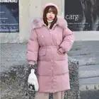 Черная/белая/розовая Зимняя куртка размера плюс, Женская длинная куртка с меховым воротником, большой размер, стеганая верхняя одежда, теплое пальто DZA027 - 2