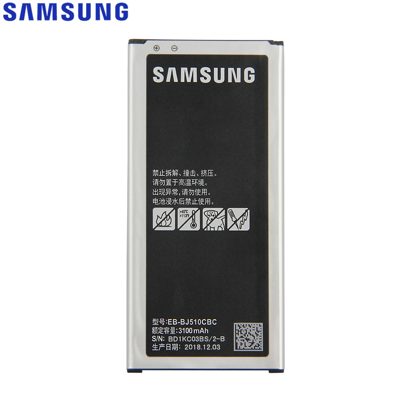 <font><b>Samsung</b></font> Original EB-BJ510CBC <font><b>Battery</b></font> For <font><b>Samsung</b></font> GALAXY 2016 Version <font><b>J510</b></font> j5109 j5108 J5 EB-BJ510CBE Phone <font><b>Battery</b></font> 3100mAh image