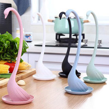 Creative Hot sale Swan Soup Spoon Long Handle Porridge Spoon with Tray Kitchen Tableware Cooking Tools Kitchen accessory(China)