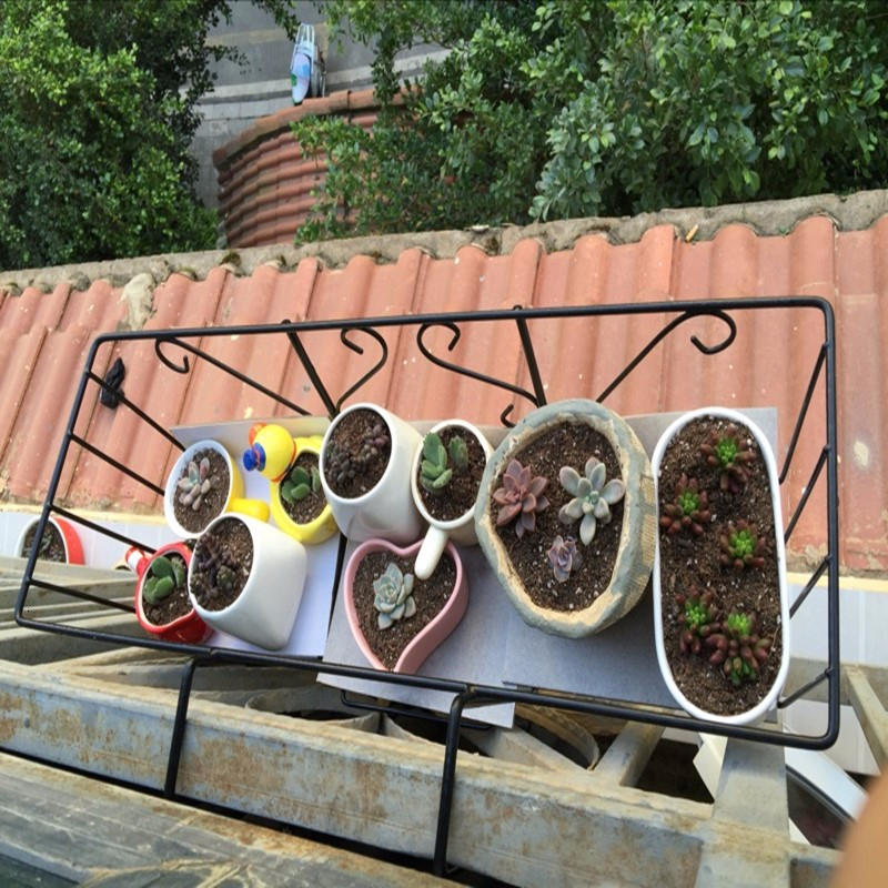 Rectangle Balcony Iron Frame  Railing  Art Flower Rack Pylons Balcony Flowerpot  Iron Art Flower Rack