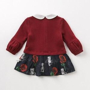 Image 2 - DB11981 dave bella sonbahar bebek kız prenses sevimli çiçek yay elbise çocuk moda parti elbise çocuk bebek lolita giysileri