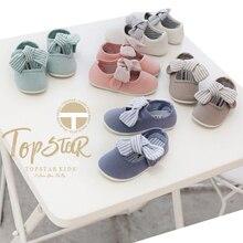 Zapatos casuales para niñas, primavera 2020, nuevo estilo coreano, Color sólido para niños, fondo suave, zapatos de lona con lazo, zapatos Vintage para bebés y niños