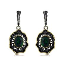 Viennois Black Gold Color Dangle Earrings For Women Hollow Green Rhinestone Geometric Design Female Metallic Party Jewelry 2020 newest viennois fashion jewelry gun color geometric finger rings for woman rhinestone and crystal party accessories
