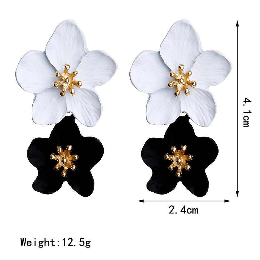 Nuevo diseño de joyería de moda 2019, pendientes grandes de doble flor de colores combinados para mujer, pendientes exagerados de estilo veraniego para fiestas y bodas