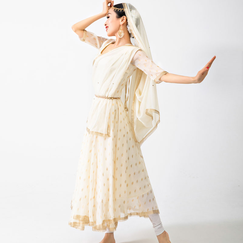 New Female Belly Dance Elegant Beige Dress Traditional <font><b>India</b></font> Style Clothes Bollywood Dance Performance Stage Costumes DQL3808 image