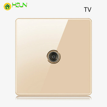 High-grade 1 2 3 4 gang 1 2 way big panel Golden switch socket Type 86 Wall 2.5D Cambered Mirror Toughened glass Computer TV 16