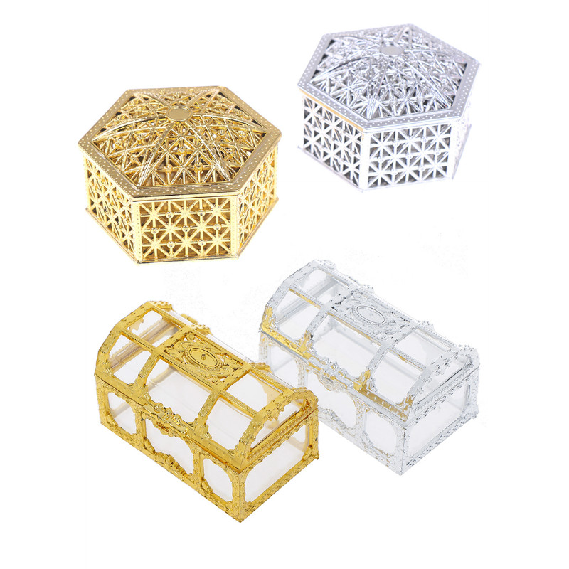 1PC Hollow Gold Foil Cake Candy Box Wedding Favor Marriage Baby Shower Gift Box Packaging Party Event Supplies