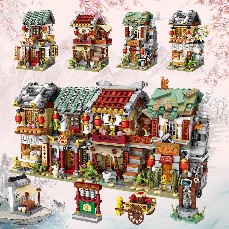 LOZ, Китайский магазин, строительные блоки, игрушки, подарок для мальчика и девочки, уличный просмотр, китайская архитектура, LOZ, мини-магазин, ...