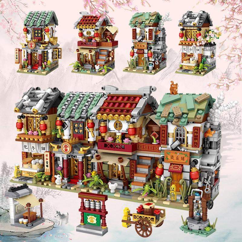 LOZ Chinese Shop Building Blocks Juguetes Boy Girl Gift Street View Culture Architecture LOZ Mini Store Bricks for Kids DIY Toys