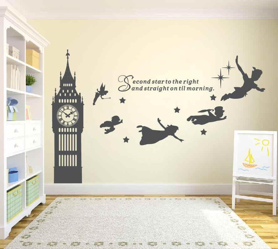 Big Ben Reloj Peter Pan Pegatinas Con Frases Para Pared