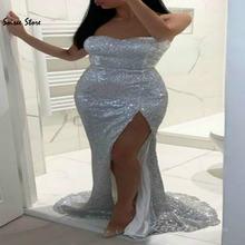 Блестящее блестящее Серебряное платье для выпускного вечера