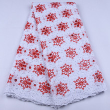 Latest Design African Dry Lace Fabrics High Quality Cotton Lace Fabric Pure White Stones Swiss Voile Lace In Switzerland 1654