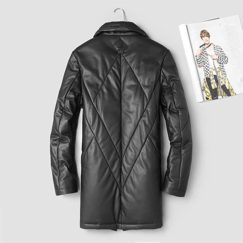 Winter Genuine Leather Jacket Men 2020 Long Sheepskin Coat Warm Down Jacket Korean Mens Leather Jackets 88005 KJ2990