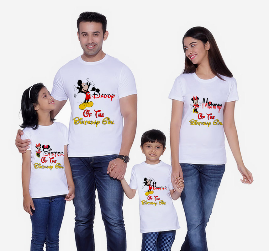 Mouse  Family Matching Clothes Mommy And Me Clothes Minnie Birthday T-Shirt Boys Clothes Mickey Birthday Short Sleeve T-Shirt