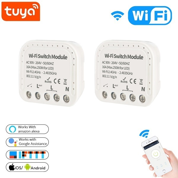 Tuya Smart Wfi Switch 16A 90V 240V Wifi Smart Switch Module Smart Home Autom Support External Switch Work With Alexa Google Home