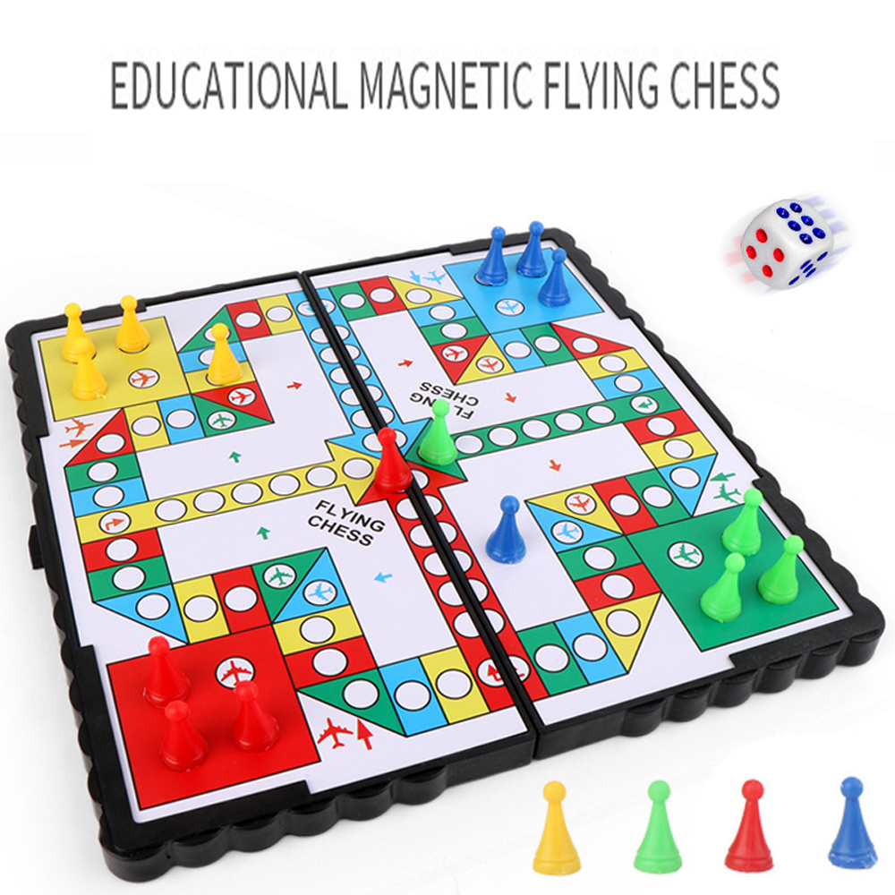 1Set Magnetic Foldable Flying Chess Crawling Mat Ludo Portable Board Game Camping Travel Game Set Aeroplane Chess ZXH